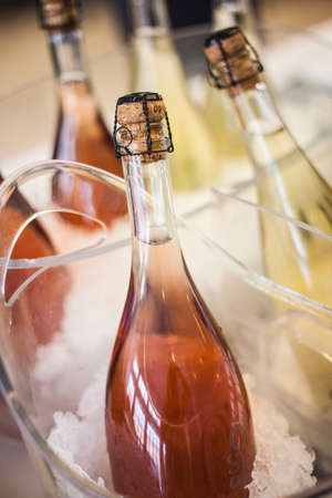 Italian sparkling wine fresh in the ice, ambient light