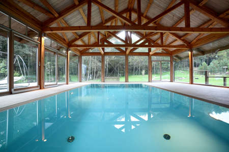bright and stylish european pool in wooden room photo