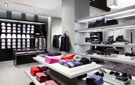 luxury stylish and modern fashion clothes store photo