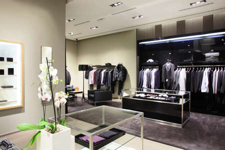 shop interior: luxury stylish and modern fashion clothes store