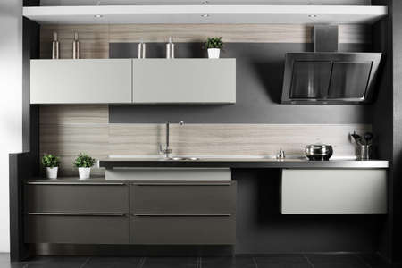 modern interior architecture: interior of brand new modern and stylish kitchen Stock Photo