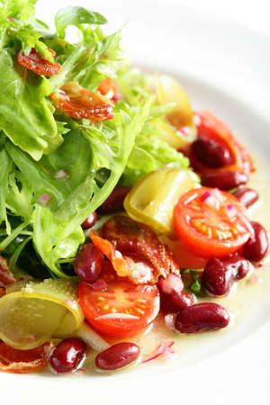 garden bean: fresh and tasty salad on white background