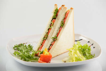 chicken sandwich: fresh and tasty sandwich on white background