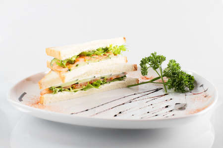 fresh and tasty sandwich on white background photo