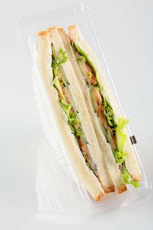 fresh and tasty sandwich on white background photo