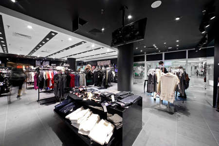 clothing store: luxury and fashionable european different clothes shop Editorial