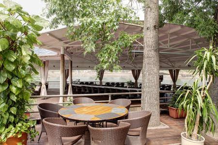outdoor view in sunny summer day of european luxury restaurant