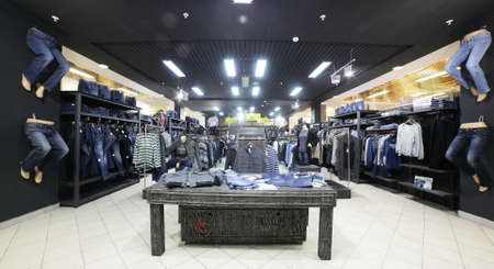 luxury and fashionable european different clothes shop Editorial