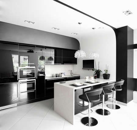 modern lamp: luxury and very clean empty european kitchen