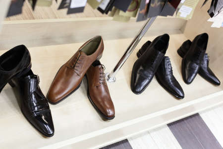 brand new black and brown shoes in store