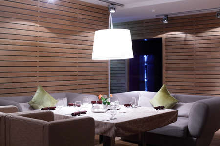 new and clean luxury restaurant in european style photo