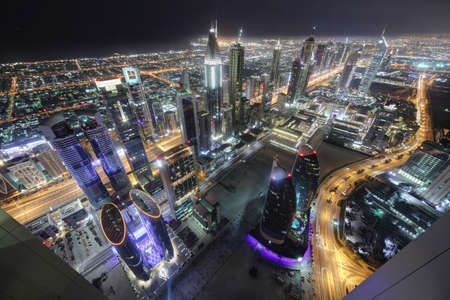 panoramic views of downtown of dubai city photo