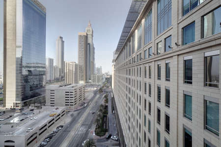 panoramic views of downtown of dubai city Stock Photo