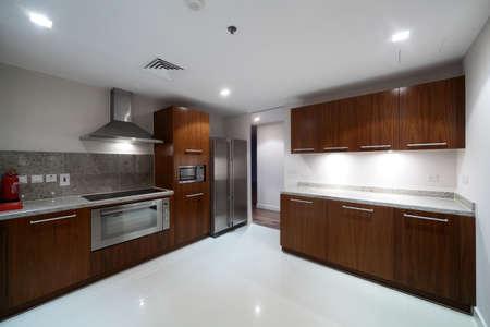 kitchen furniture: luxury and very clean empty european kitchen