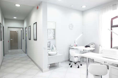 hallway: brand new and empty european luxury medical clinic Stock Photo