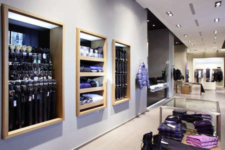 luxury and fashionable european different clothes shop Stock Photo
