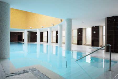 beautiful swiming pool inside euporean style building photo