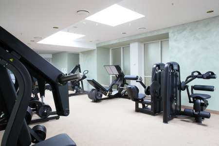gym room: bright european gym with a lot of windows