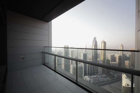 high end balcony in downtown of dubai Stock Photo