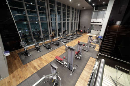 recreation room: bright european gym with a lot of windows