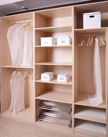 wardrobes: modern and stylish brand new wooden wardrobe Stock Photo