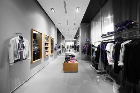 store interior: interior of brand new fashion clothes store