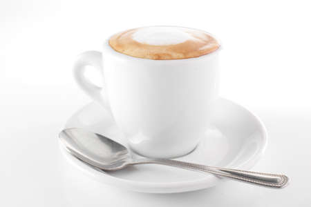 capuchino: white cup of coffee on white background Stock Photo