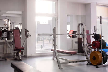 recreation room: interior of new modern gym with equipment
