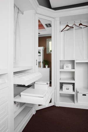 modern and stylish interior of bright wooden wardrobe Stock Photo - 24294007