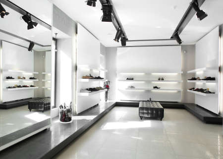 bright large shoe store with luxury collection photo
