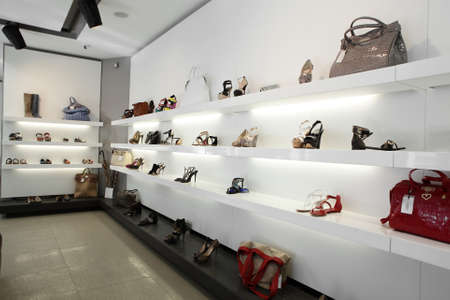 shoe store: bright large shoe store with luxury collection