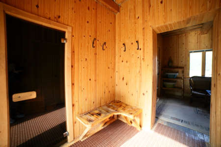 luxury and cute interior of wooden russian sauna photo