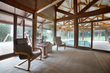 interior of the house with big swimming pool photo