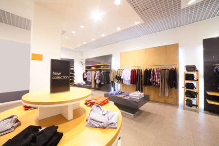 european fashionable clothing store in beautiful mall photo
