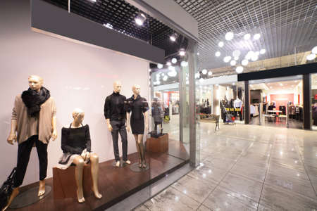 malls: modern interior and windows in fashionable shopping mall