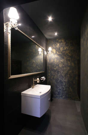 clean and clear modern restroom with a lot of light photo