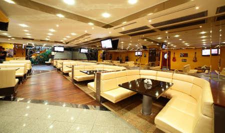 interior lighting: modern european restaurant with nice and bright interior