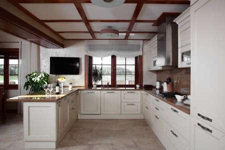 luxury kitchen interior with modern furniture photo