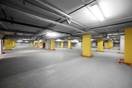 new and modern interior of grey parking