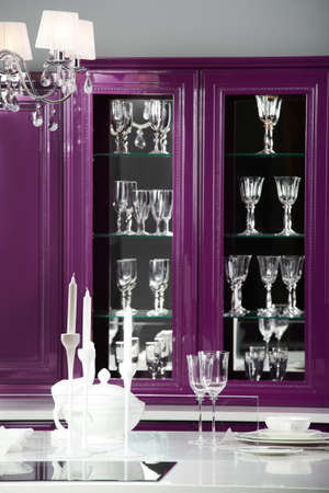 luxury purple kitchen interior with modern furniture photo