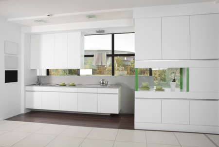 luxury kitchen interior with modern furniture photo