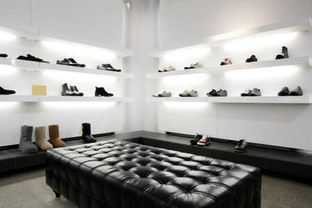 Bright large shoe store with new collection