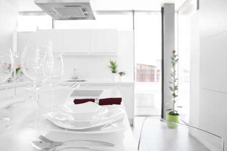 fridge lamp: luxury white kitchen interior with modern furniture