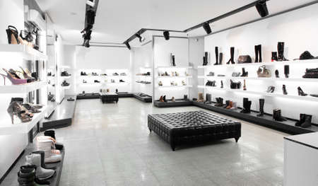shoes fashion: Bright large shoe store with new collection