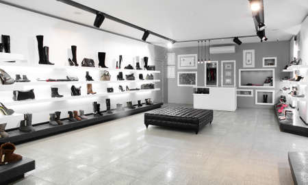 retail display: Bright large shoe store with new collection