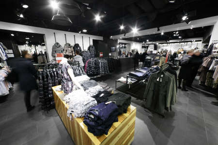 commercial: european clothing store interior in modern mall