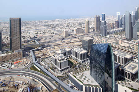 atmosphere construction: bright and beautiful view to dubai city