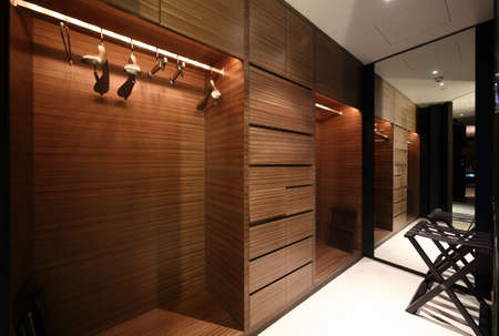 closet: beautiful and modern interior of bright cloakroom