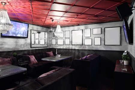 decore: beautiful brand new european restaurant in downtown Stock Photo