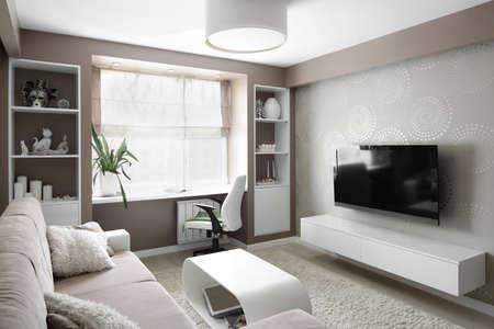 interior grande y brillante de la moderna sala de estar